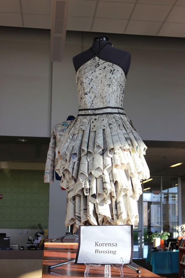 Korensa Bussing created a long puffy newspaper dress using lots of comics.