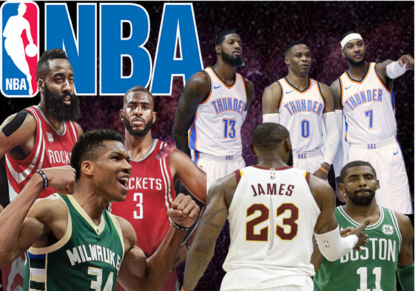 Photo illustration featuring Giannis Antetokounmpo, James Harden, Chris Paul. LeBron James, Kyrie Irving, Paul George, Russell Westbrook, and Carmelo Anthony. (Caden Elkthunder)