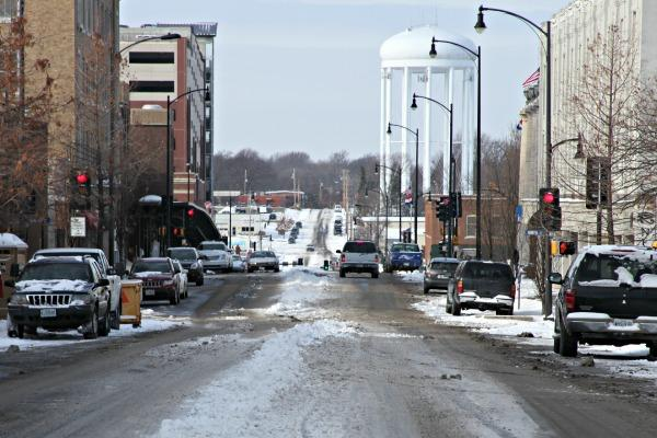 Walnut Street in Columbia, Mo on January 2, 2013