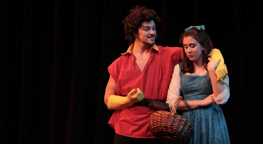 Gavin Cochran and Kayli Lightner playing Gaston and Belle at a dress rehearsal.