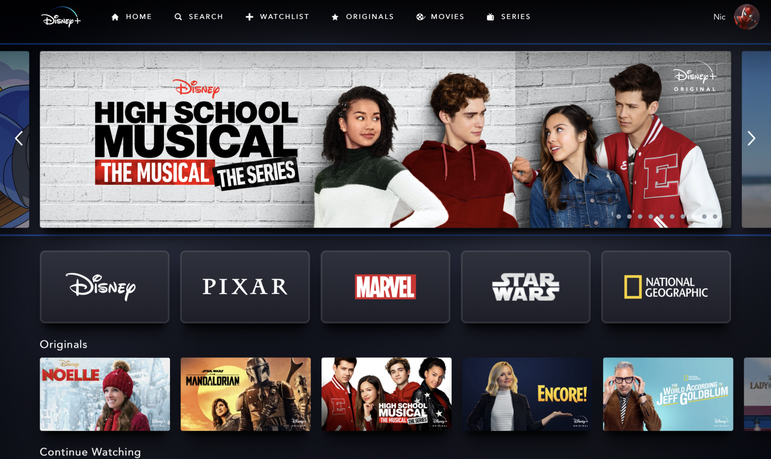 This is the interface users are presented with when browsing content on Disney+