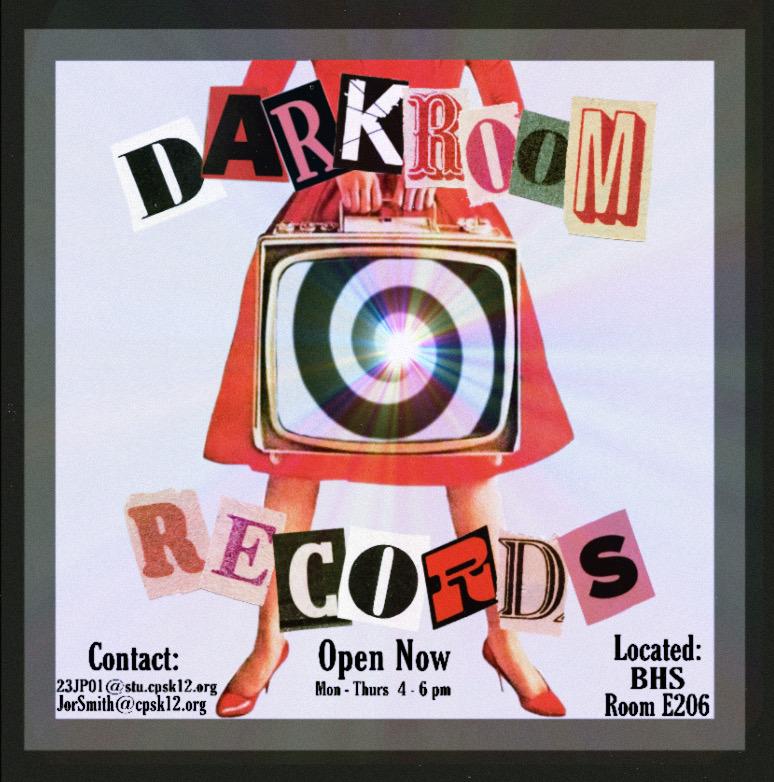Darkroom Records advertisement made by Darkroom Intern